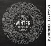 chalkboard vector hand drawn... | Shutterstock .eps vector #512594401