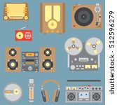 color flat vector icon set with ... | Shutterstock .eps vector #512596279