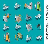 scientist isometric icons set... | Shutterstock .eps vector #512599549