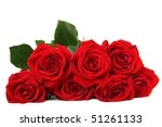 Seven Red Roses Isolated On...