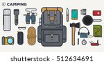 camping items set. traveler... | Shutterstock .eps vector #512634691