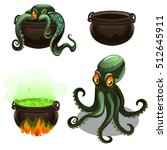 green octopus and cauldron with ... | Shutterstock .eps vector #512645911