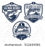 vintage salmon fishing emblems  ... | Shutterstock .eps vector #512654581
