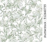 seamless pattern with tea leaf. ... | Shutterstock .eps vector #512660755