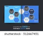 hexagon elements blue bi fold... | Shutterstock .eps vector #512667451