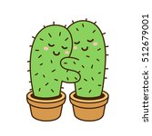 Cactus Hug Vector Drawing. Cut...