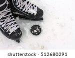 Men's Hockey Skates On A Snowy...