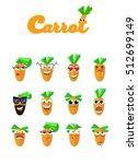 set of smiles.cartoon carrot... | Shutterstock .eps vector #512699149