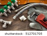 set of plumbing and tools on... | Shutterstock . vector #512701705