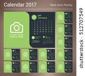 calendar for 2017 year. vector...   Shutterstock .eps vector #512707549