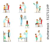 kids on medical check up with... | Shutterstock .eps vector #512711149