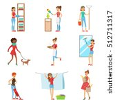 happy modern housewives... | Shutterstock .eps vector #512711317