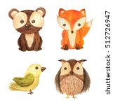 Stock photo cute cartoon watercolor forest animals set hand painted lovely baby bear fox owl and little bird 512726947