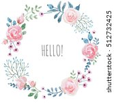 watercolor floral wedding... | Shutterstock . vector #512732425