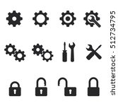 vector settings and lock icons... | Shutterstock .eps vector #512734795
