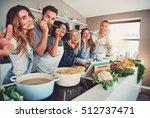 five friends having a little... | Shutterstock . vector #512737471