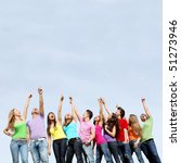 Small photo of large group of mixed race kids pointing to blank space