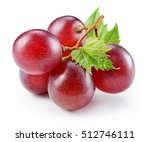 Ripe Red Grape With Leaf...