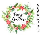 merry christmas lettering.... | Shutterstock . vector #512746585