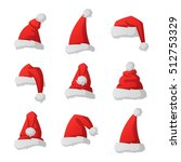 just red christmas santa hat at ... | Shutterstock .eps vector #512753329
