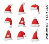 just red christmas santa hat at ... | Shutterstock .eps vector #512753329