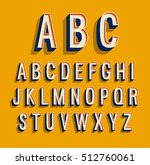 retro alphabet. vector... | Shutterstock .eps vector #512760061