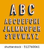 retro alphabet. vector... | Shutterstock .eps vector #512760061