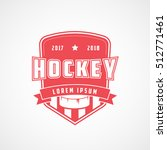 hockey emblem red flat icon on... | Shutterstock .eps vector #512771461