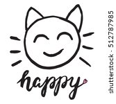 Cat Face Smile Happy Word Object