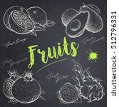 set of hand drawn fruits on the ... | Shutterstock .eps vector #512796331