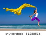 beautiful young woman jumping... | Shutterstock . vector #51280516