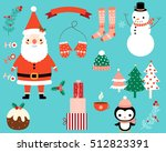 christmas vector characters and ... | Shutterstock .eps vector #512823391