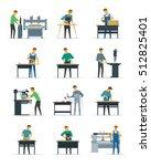 woodworking carpentry polishing ...   Shutterstock .eps vector #512825401