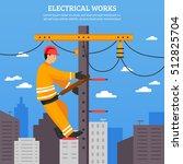 electrical works flat vector... | Shutterstock .eps vector #512825704