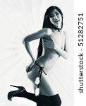Sexy japanese woman. Blue tint. - stock photo