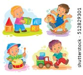 set of vector icons little boy... | Shutterstock .eps vector #512829301