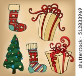 christmas hand drawn collection.... | Shutterstock .eps vector #512833969