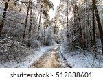 landscape of winter pine forest ... | Shutterstock . vector #512838601