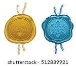 gold and blue wax seal   | Shutterstock .eps vector #512839921