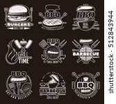 white on black barbecue... | Shutterstock .eps vector #512843944