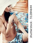 summer woman with blue drink   Shutterstock . vector #51284644