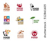 vector set food delivery  icons ... | Shutterstock .eps vector #512861605