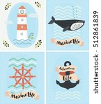 vector set of greeting marine... | Shutterstock .eps vector #512861839