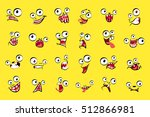 monster faces set on yellow... | Shutterstock .eps vector #512866981