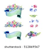 colorful floral collection with ... | Shutterstock . vector #512869567