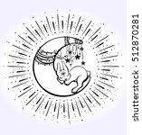 cute sleepig bunny on the half... | Shutterstock .eps vector #512870281
