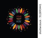 color flower hippie logo. round ...   Shutterstock .eps vector #512893441