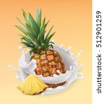 pineapple and milk splash.... | Shutterstock .eps vector #512901259