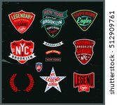 set of vintage varsity graphics ... | Shutterstock .eps vector #512909761