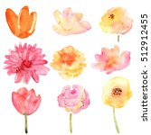 floral set. collection with... | Shutterstock . vector #512912455